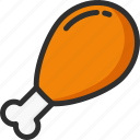 chicken, cooked, food, leg, meat icon