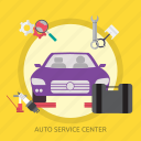 auto, auto service center, car, center, plug car, service, wrench icon
