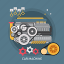 car, car machine, machine, mechanism, motor, technology, vehicle icon