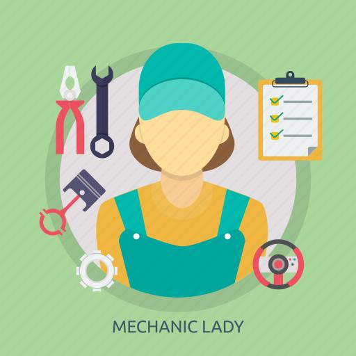 female, girl, lady, mechanic, mechanic lady, woman, work icon