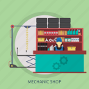 business, garage, mechanic, mechanic shop, shop, sticker icon