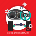 part, power, power steering service, service, steering, steering car icon
