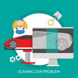 car, mechanic, problem, scaning, scaning car problem, screen icon