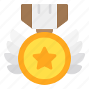 badge, honor, medal, shield, wings icon