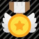 shield, wings, badge, honor, medal