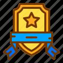 badge, honor, ribbon, shield, star, veteran icon