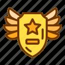 award, badge, medal, shield, wings icon