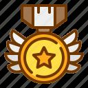 badge, honor, medal, shield, veteran, wings icon