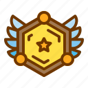 award, badge, medal, shield, veteran, wings icon