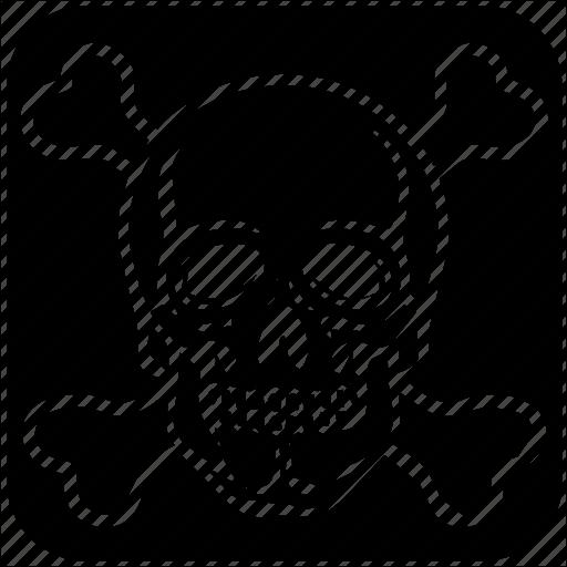 alert, attention, button, danger, dead, death, error, poison, skull, warning icon