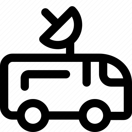 antenna, media, news, van icon