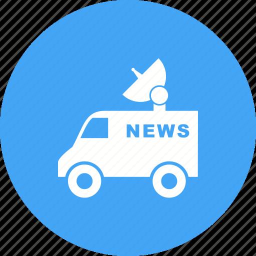 channel, news, satellite, television, van, vehicle, view icon