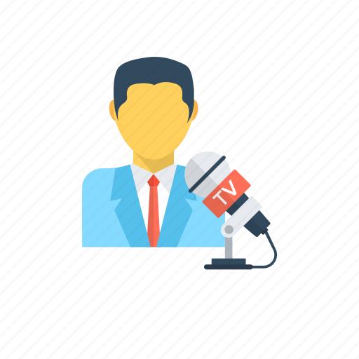 anchorman, journalist, news anchor, news reporter, reporter icon