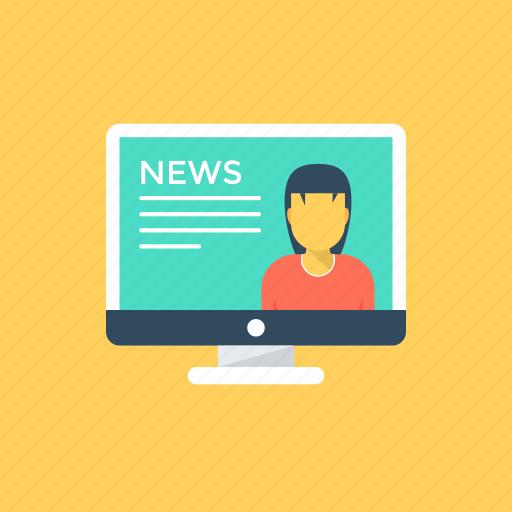 e-news, mass media, news reporting, online news, tv streaming icon