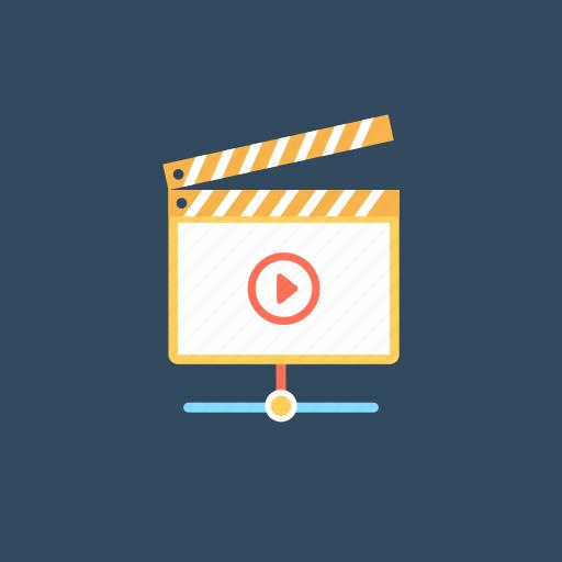 clapper board, filmmaking, online media player, online video, web video icon