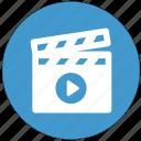 clapperboard, play, shooting, start, cinema, movie
