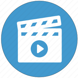 cinema, clapperboard, movie, play, shooting, start icon
