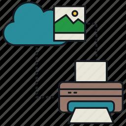 cloud, image, media, print, share icon