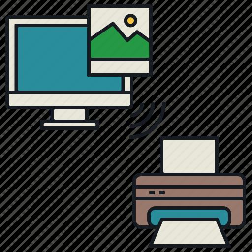 image, laptop, media, print, share, wireless icon