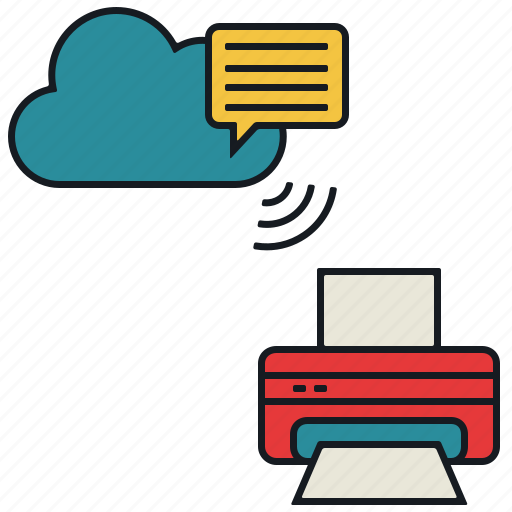 cloud, media, message, print, share, wireless icon