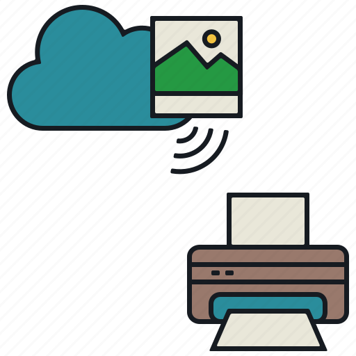 cloud, image, media, print, share, wireless icon