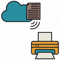 cloud, documents, media, print, share, wireless icon