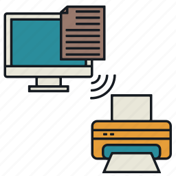 documents, laptop, media, print, share, wireless icon
