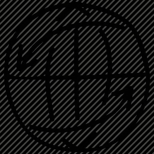arrows rotating, earth, globe, internet icon