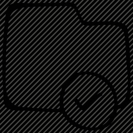 check mark, folder, folder accept, verification mark icon