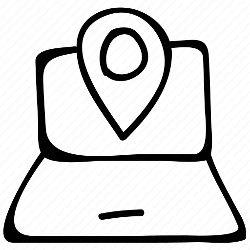 laptop, locator, online gps, screen icon