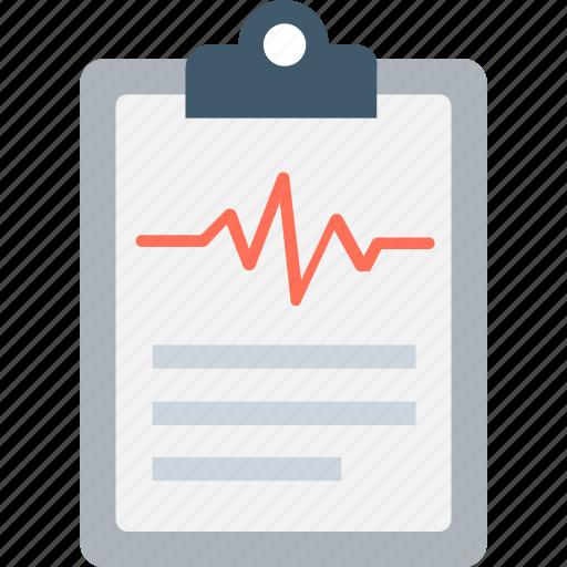 clipboard, ecg report, electrocardiogram, medical report, prescription icon