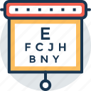 eye chart, eye test, opthamologist, snellen chart, visual chart icon