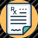 medical report, medicament, patient card, prescription, rx icon