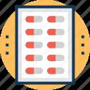medical treatment, medication, medicine strip, pills, remedy icon