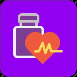 cardiac treatment, heart disease, heart medication, lifeline, medicine jar icon
