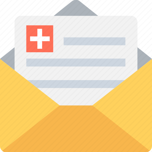 envelope, medical report, medication, patient report, prescription icon