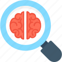 anatomy, brain, magnifier, neurology, search brain icon