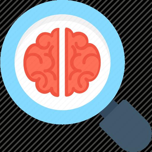 anatomy, brain, magnifier, neurology, search brain icon