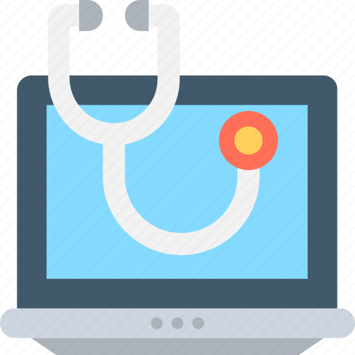 first aid, hospital laptop, laptop, online aid, stethoscope icon