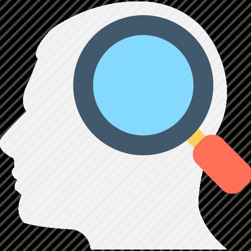 anatomy, brain, head, magnifier, search brain icon