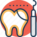 dental checkup, dental explorer, dentist, sickle probe, tooth icon