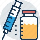 injection, intravenous, syringe, vaccine, vial icon