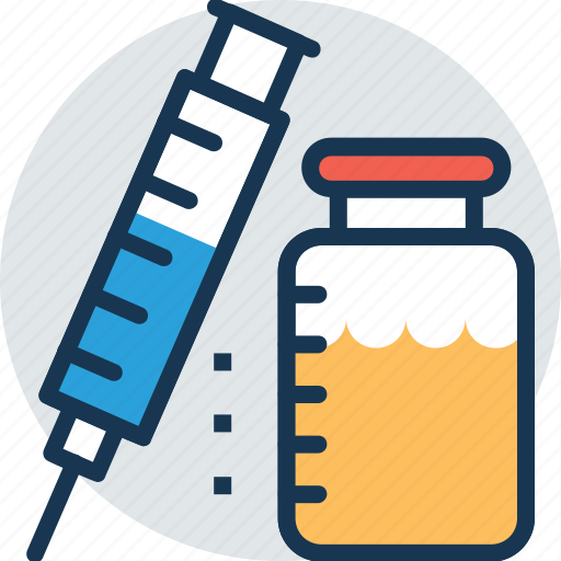 injection, intravenous, syringe, vaccine, vial icon