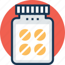 antibiotics, capsules, drug jar, medications, pills icon
