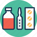 medicine, pharmacy, pills, syrup, vials icon