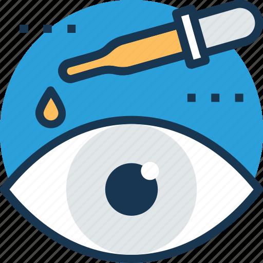 Eye care, dropper, eye drops, eye infection, eye medication icon