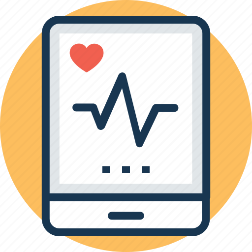 Health app, heart beat, medical application, heart rate app, pulse monitor icon