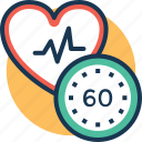 60 beats, cardiologist, normal heart rate, slow heartbeat, tachycardia icon
