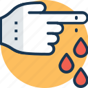 blood drops, finger bleeding, finger injury, hand injury, wound icon