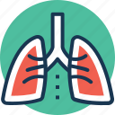asthma, inhaling, lungs, respiratory organ, thorax icon